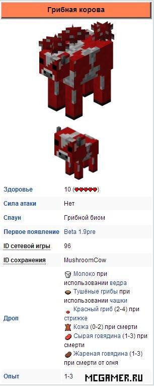 Грибная корова Minecraft
